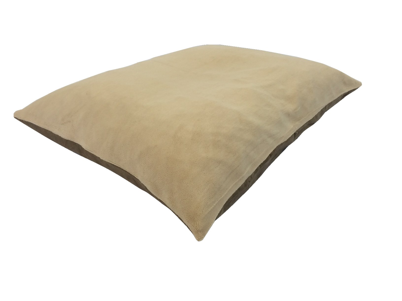 36''x29'' Medium Size MicroCushion High Density Memory Foam Soft PolyFiber Waterproof Pet Pillow Bed with Removable Zippered Luxurious Fleece Beige / Brown Suede Cover for Small to Medium Dogs
