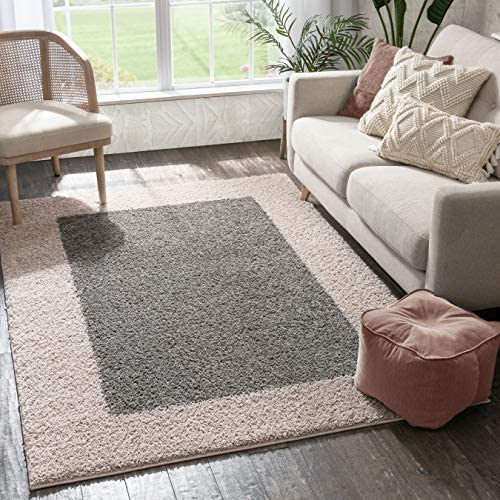 Porta Border Modern Geometric Shag 7x10 6'7'' x 9'10'' Area Rug GreyBeige Plush Easy Care Thick Soft Plush Living Room
