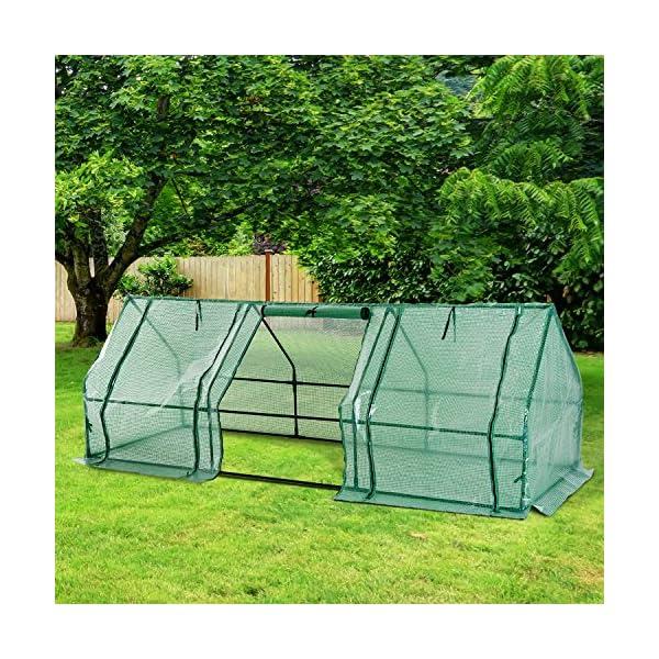 Outsunny Serra da giardino a tunnel in PE telaio in acciaio 270x90x90cm verde trasparente 2 spesavip