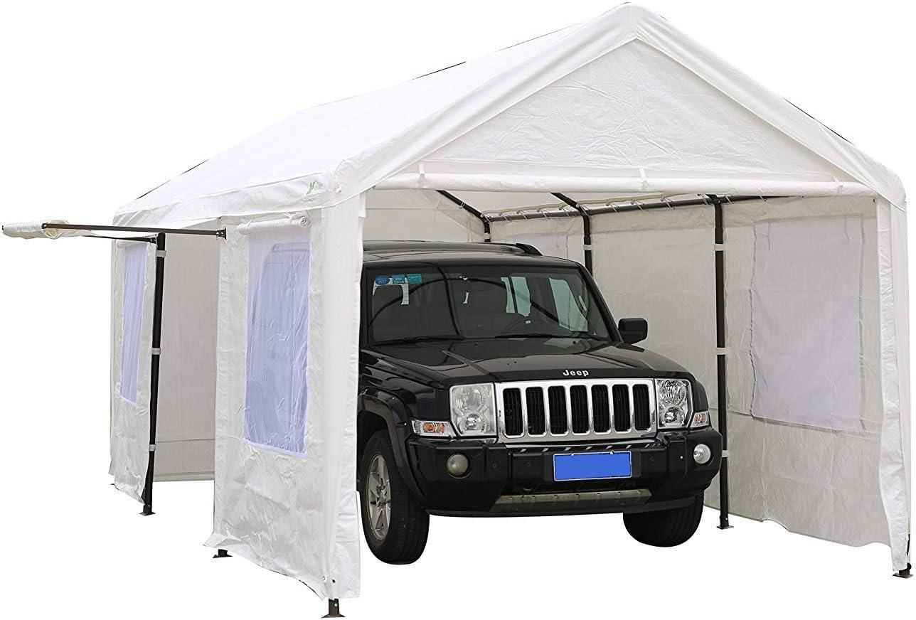 SORARA Carport 10 x 20 m Resistente toldo Garaje Coche Refugio con Windows y Paredes, Color Blanco