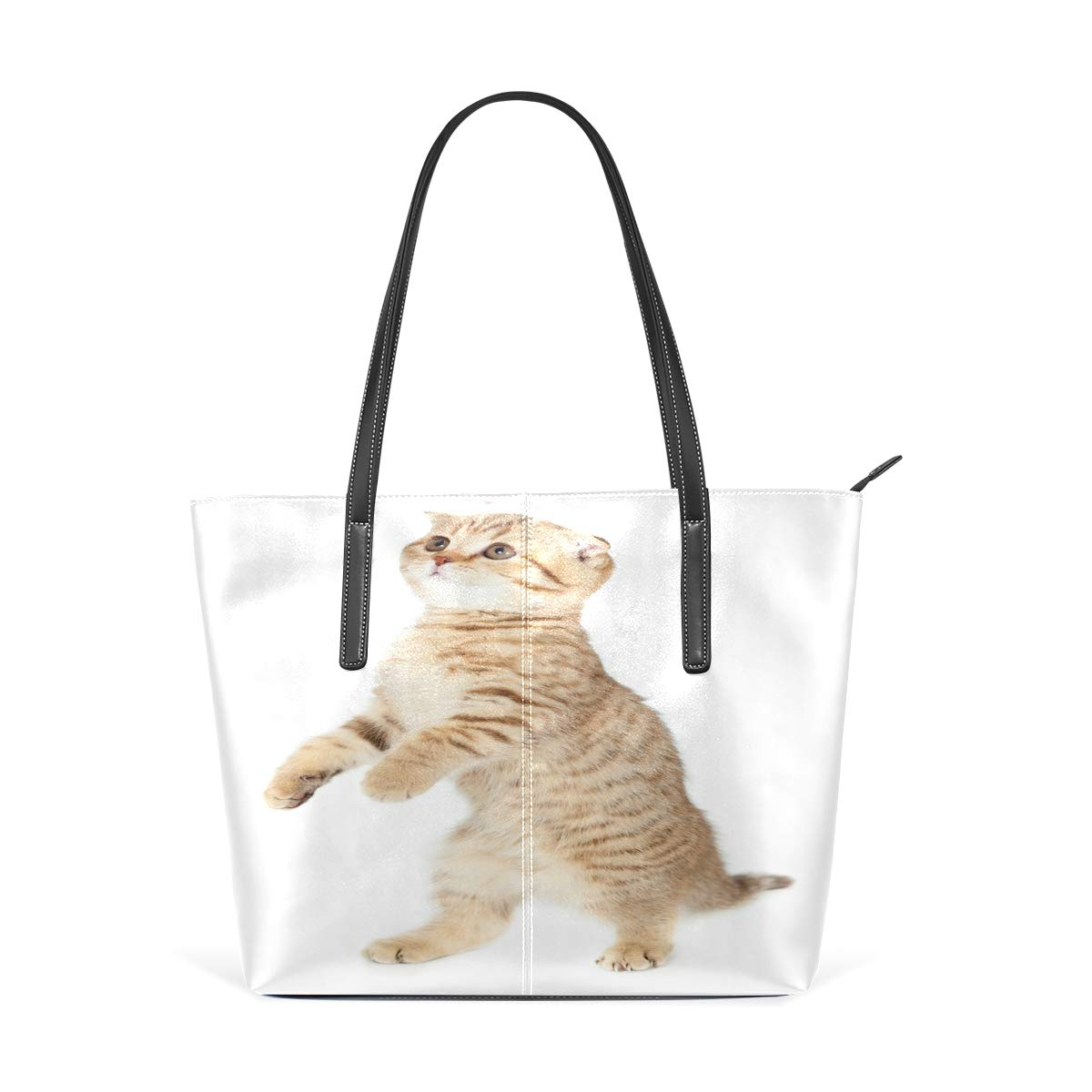 Cat 3D Funny Womens PU Leather Tote Shoulder Bags Handbags Casual Bag