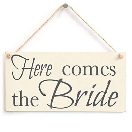 Aquí viene la novia - hecho a mano accesorio de boda cartel ...
