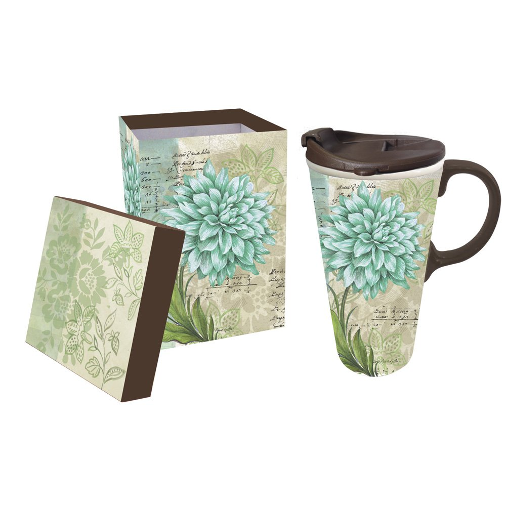 Cypress Home Turquoise Dahlia Ceramic Travel Coffee Mug, 17 ounces