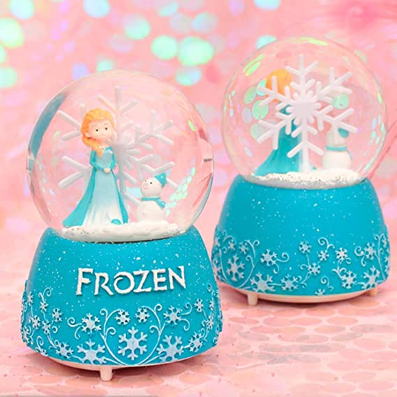 Blue, Auto Snow Snow Globes with Automatic Snowfull for Kids Boys Girls,Craft Collection Funny Christmas Birthdays Easter Gifts for Kids,Resin//Glass ANVEC 100MM Musical Snowglobes