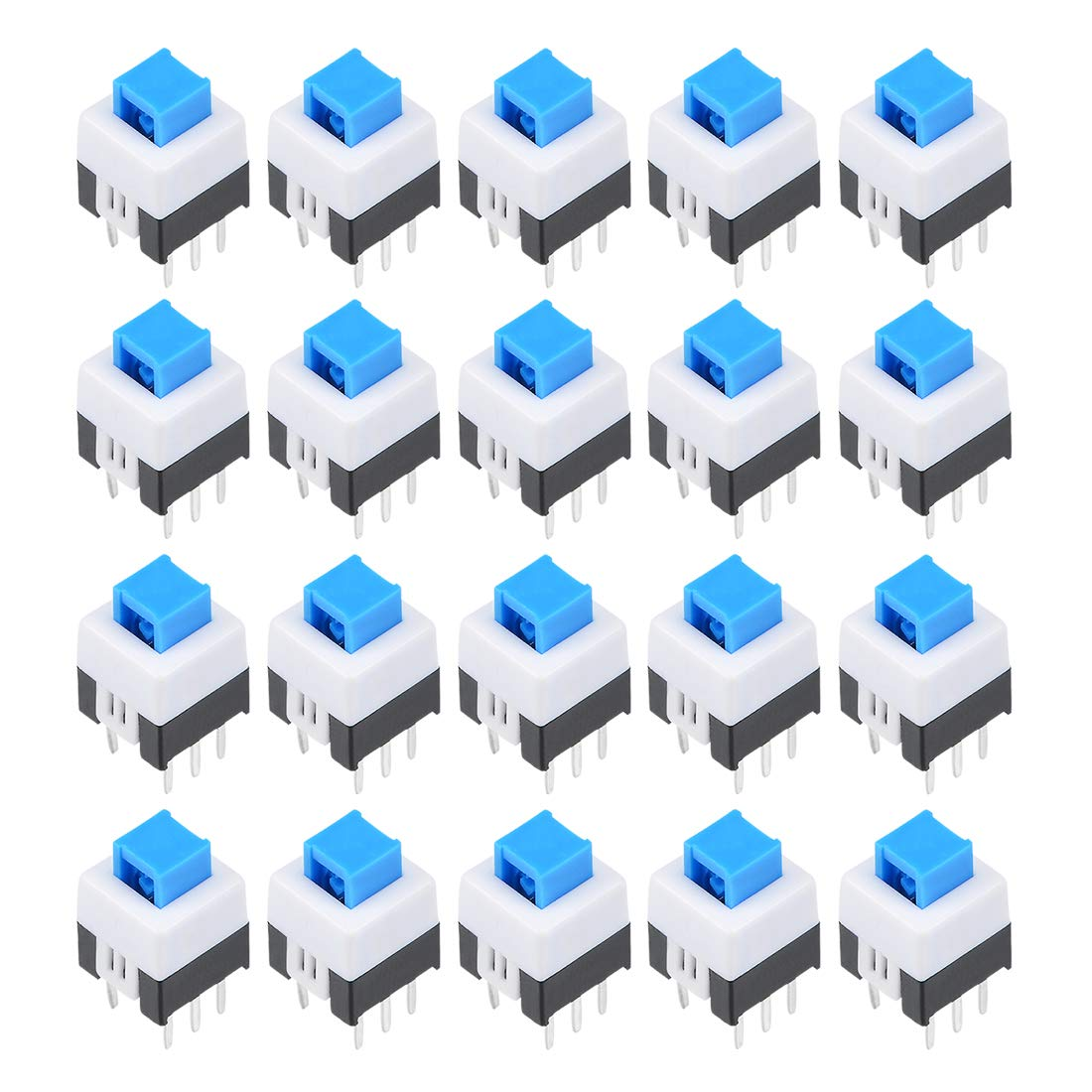 uxcell 20 Pcs 6 Pin PCB Light Touch Latching Push Button Tact Tactile  Switch 7 x 7 x 9mm