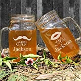 Set of 2 Mr and Mrs Lips Beard Engraved Wedding Mason Jars Glasses Mugs for Favor Personalized Last Name for Wedding,Anniversary,Valentines Day Gifts