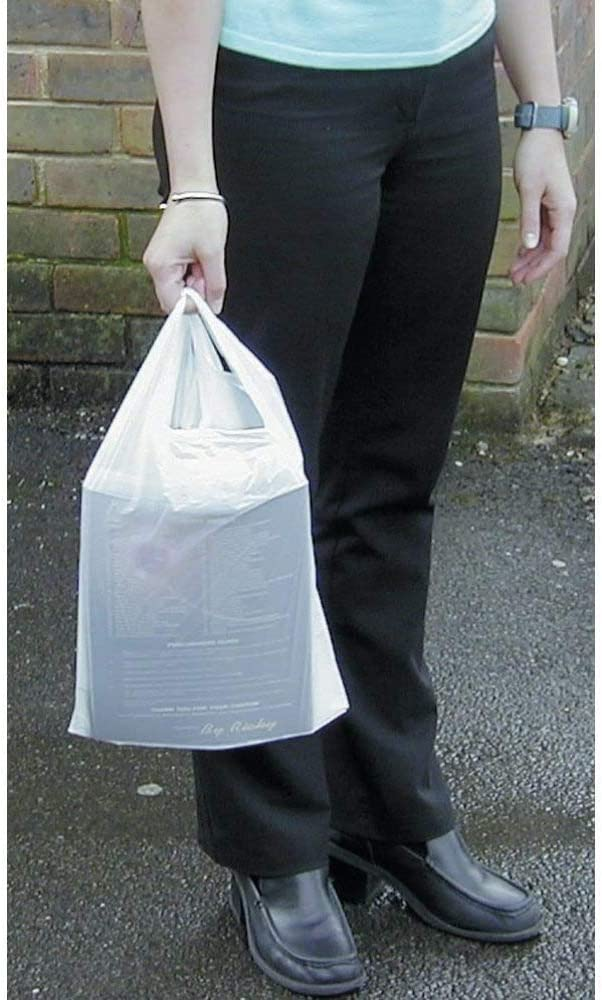 - HEAVY DUTY 1 box = 100 bags White Vest Style Plastic Carrier Bags 13 x 19 x 23 -
