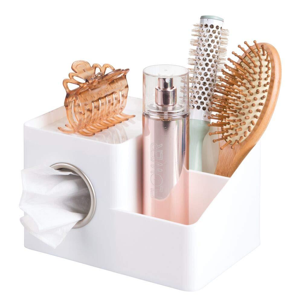 mDesign Organizador para ba/ño y lavabo Elegante organizador de maquillaje para ba/ño con dispensador de pa/ñuelos Pr/áctico organizador de accesorios para ba/ños y cosm/éticos marr/ón//plate