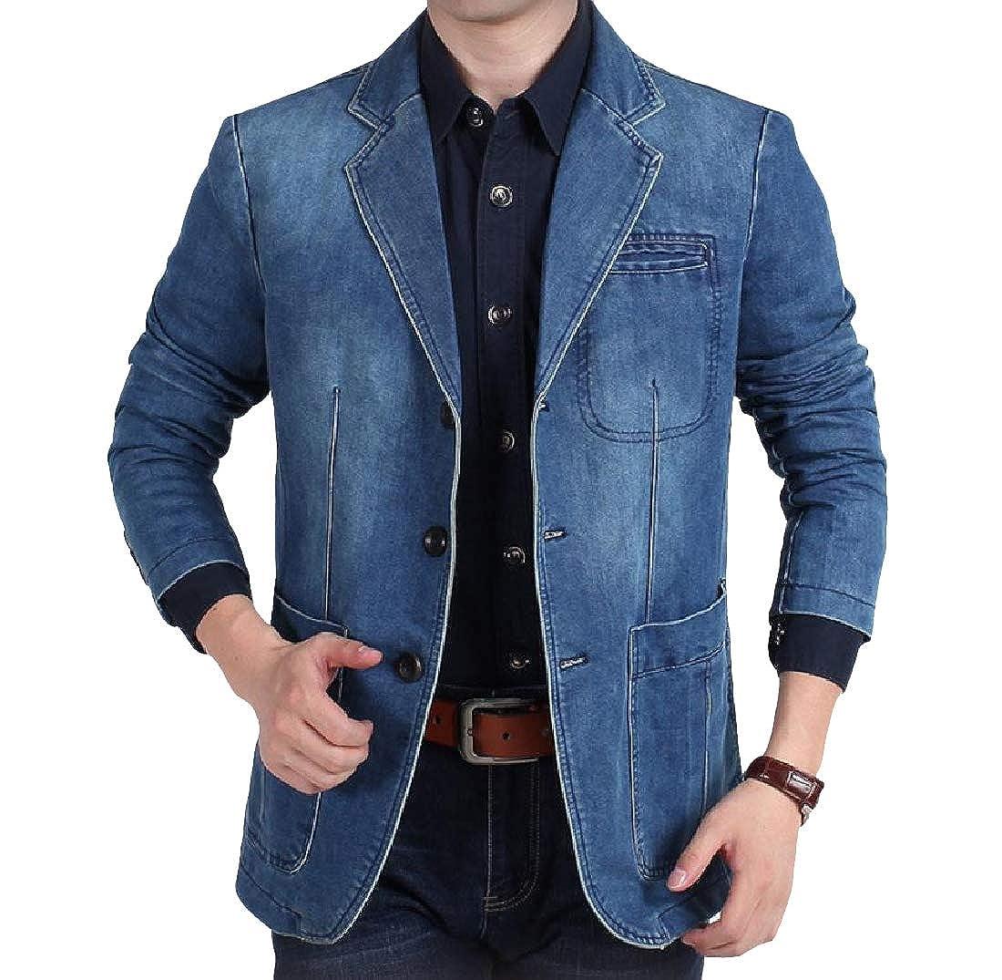 Zimaes-Men 3 Button Casual Baggy Notch Collar Cowboy Blazer Jackets