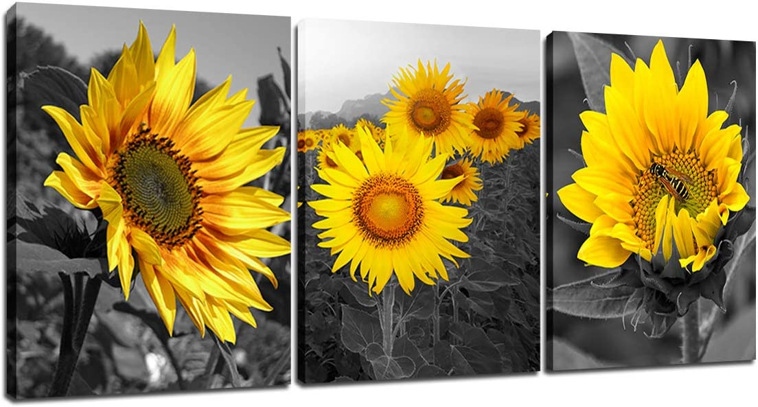 Black and White Sunflower Picture - Yellow Floral Wall Art Bee Decor set of 3 Wall Decor Flowers Home Wall Decoration Bathroom Bedroom Kitchen Living Room Modern Canva Painting Framed 12x16inch