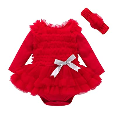 2pcs Baby Girl Lace Solid Ruffles Romper Party Dress+Headband Outfit Clothes Set