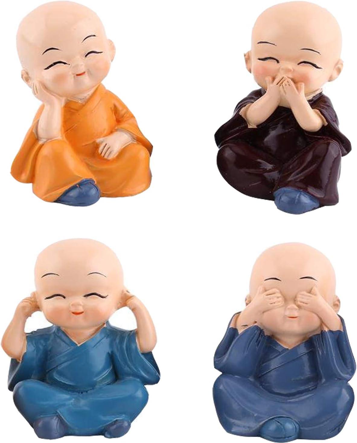 Ouinne 4 Unidades Estatua Linda del Monje Figura, Buda Figuras Decorativas para el Automóvil o como Decoración de Mesa