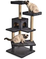 AmazonBasics Multi Platform Steps Cat Tree Tower - 24 x 22 x 51 Inches, Dark Grey