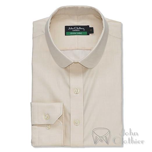 25400649dadbe WhitePilotShirts Round Collar Mens Shirt Fawnmelange 100% Cotton ...