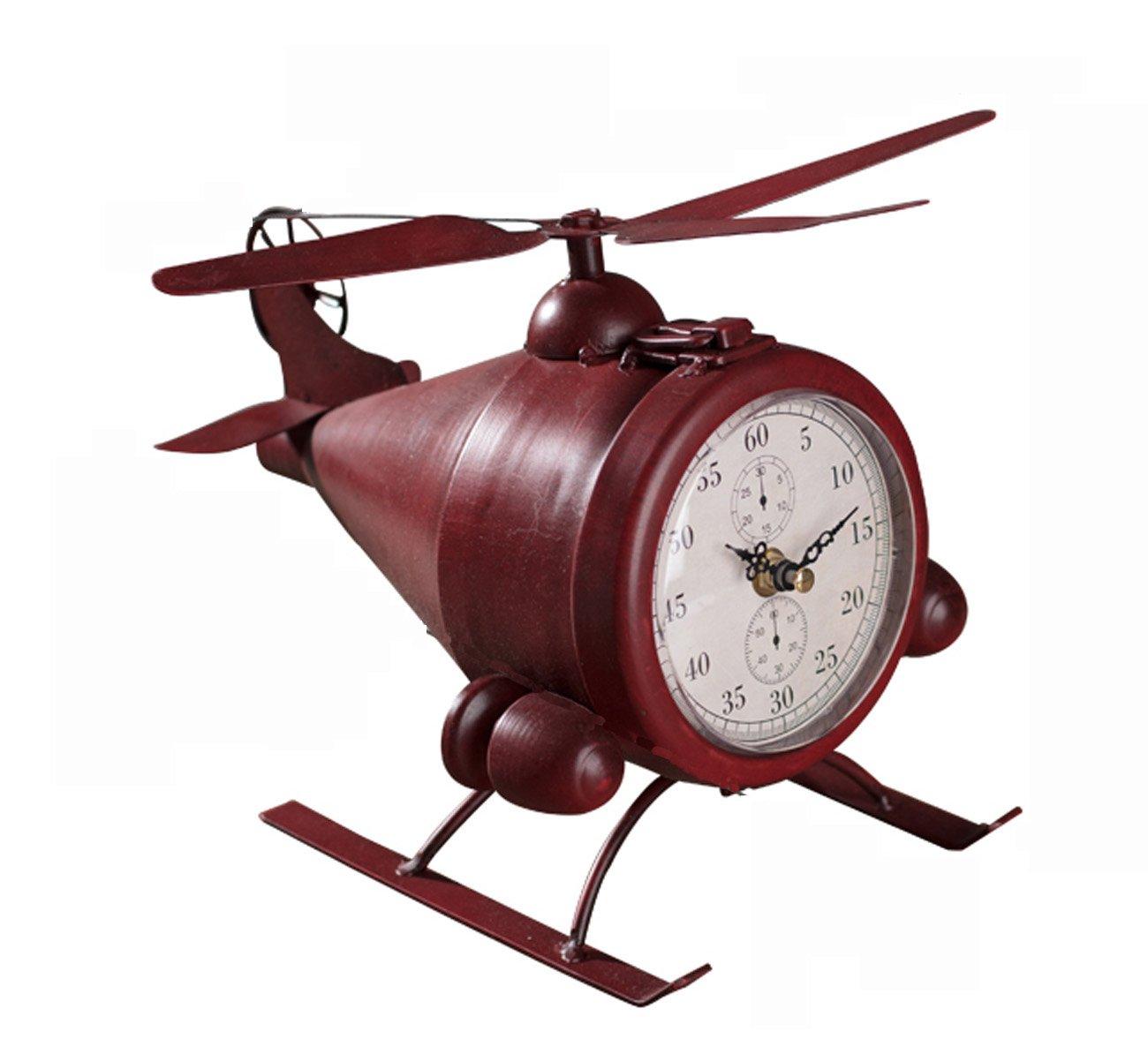 レトロノスタルジック飛行機モデルクロック、クリエイティブアイアン装飾テーブルクロック、リビングルームテレビキャビネット寝室装飾棚の時計または完璧なギフト(26 * 24 * 19センチメートル) (色 : ブラック) B07CZKCS5Cブラック