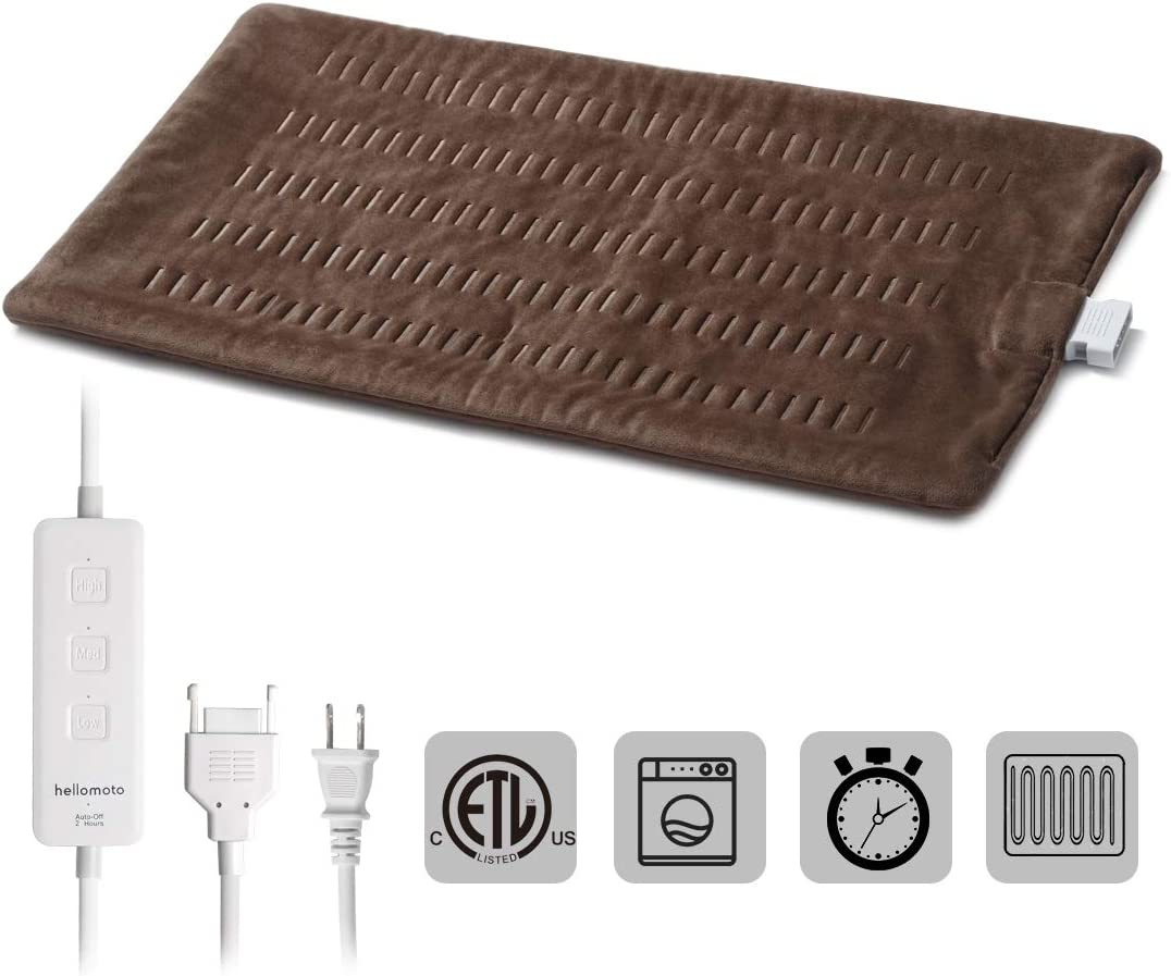 hellomoto Heating Pad for Pain and Cramps Relief, 3 Heated Settings with Auto Shut Off and Fast Heating Technology - 12x24 Inch, Brown(CB105)
