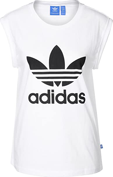 c6d0453dd4e0 Amazon.com  adidas Originals Women s Boyfriend Trefoil Tshirt 14 White  adidas  Originals  Clothing