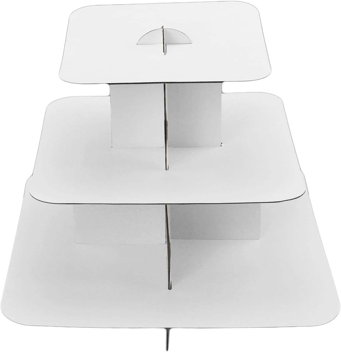 Ifavor123 White Square 3-Tier Cardboard Cupcake Stand Dessert Tower Treat Stacked Pastry Serving Platter Food Display (Pkg of 1)
