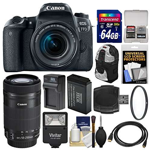 Canon EOS 77D Wi-Fi Digital SLR Camera & EF-S 18-55mm with 5