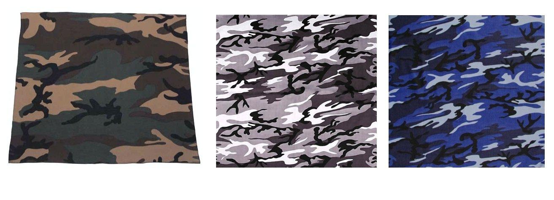 Moto 7X Lot de 3 bandana militaire US Army camouflage Airsoft Outdoor Biker Urban bleu Woodland Paintball 55 cm x 55 cm