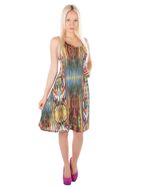 Damen Sommerkleid mit Rückenausschnitt, Knielang, One Size (34-38), 5200-K002