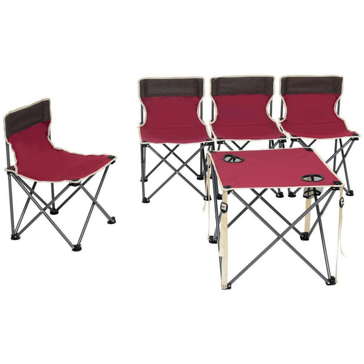ANA Store Vacations Cookout Party Curl Stand Metal Iron Stell Frame Red Oxford Fabric Portable Folding Table Chairs Set Inside Outside Camp Beach Picnic with Carrying Bag by ANA Store (Image #5)