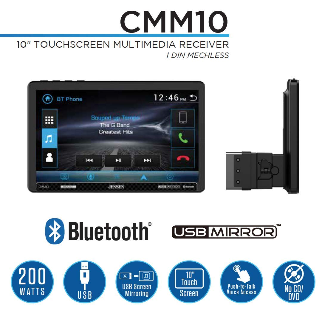 Front /& Rear Camera JENSEN CMM10 10.1 inch LED Multimedia Touch Screen Single Din Car Stereo |USB Screen Mirroring Steering Wheel Control USB /& microSD Push to Talk Assistant Bluetooth