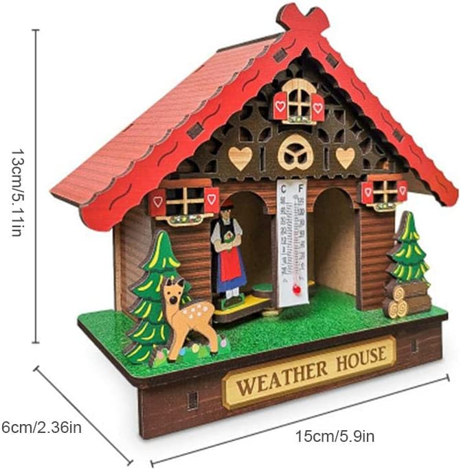15x6x12cm Easy-topbuy Wood Weather House Creative Barometer Thermometer Hygrometer With Man And Woman Home Decoration Wall Hanging Ornaments