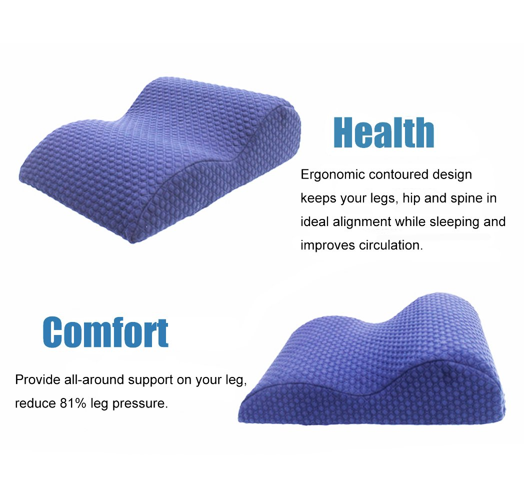 IRQ Elevated Leg Rest Pillow, Memory Foam Orthopedic Pain Relief Knee Pillow Wedge for Sleeping, Circulation, Pregnant - Breathable Washable Cover (Blue)