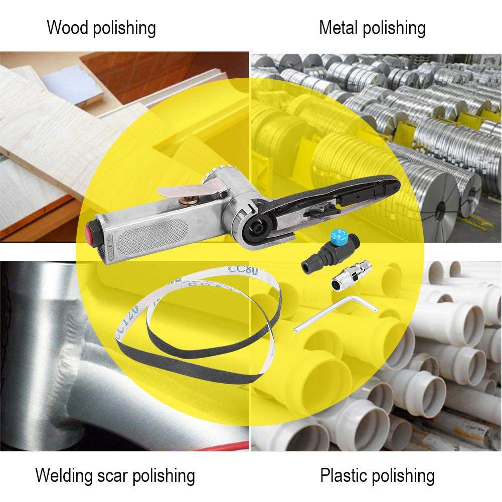 13.0 pulgada Tama/ño de la correa Pr/áctica Velocidad de aire Velocidad Lijadora de banda Lijadora Pulidora M/áquina amoladora con 3 piezas Cinturones para Lijadora de banda de aire peque/ña 0.4