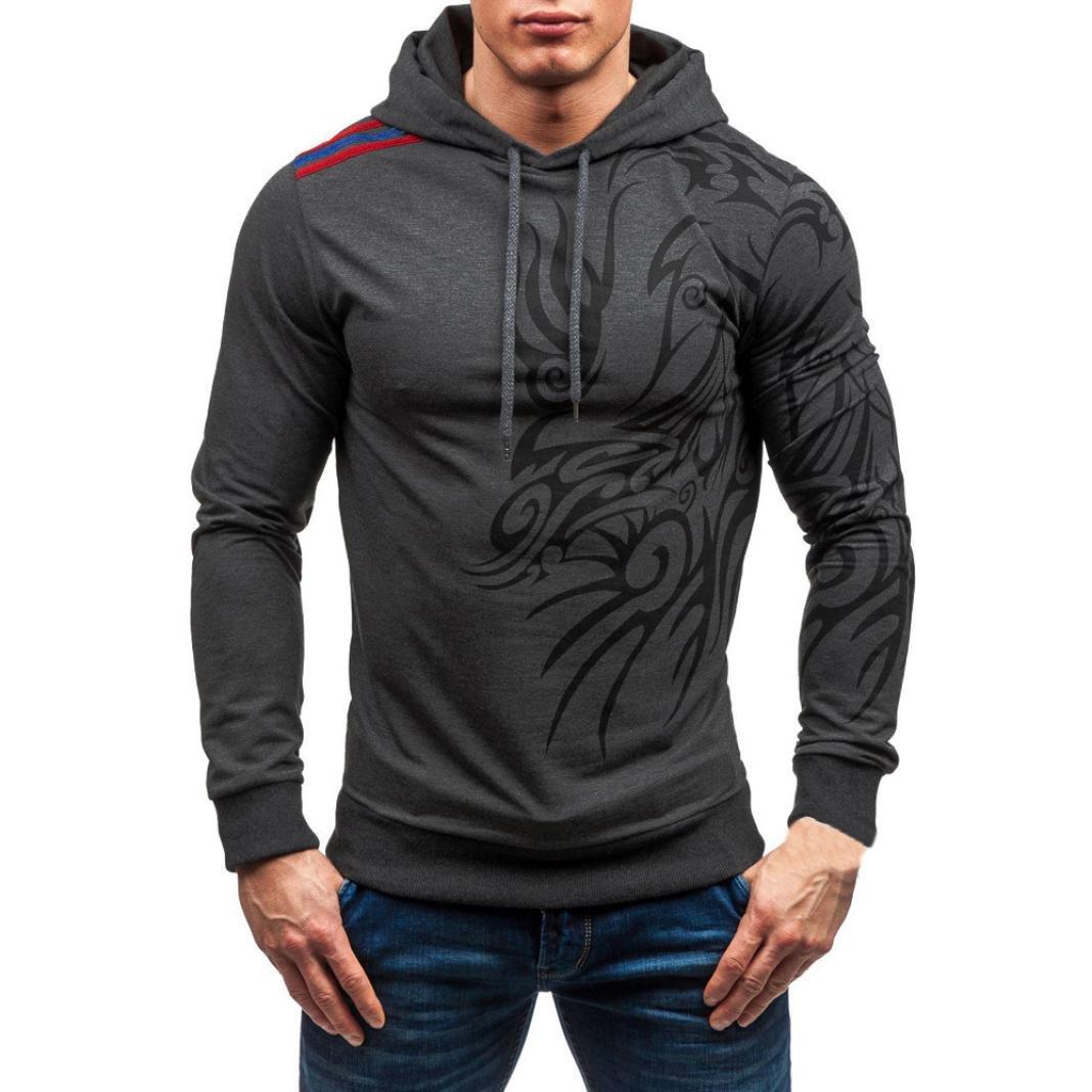 Forthery Men's Pullover Printed Fleece Hooded Sweatshirt (Tag XL= US L, Dark Gray)