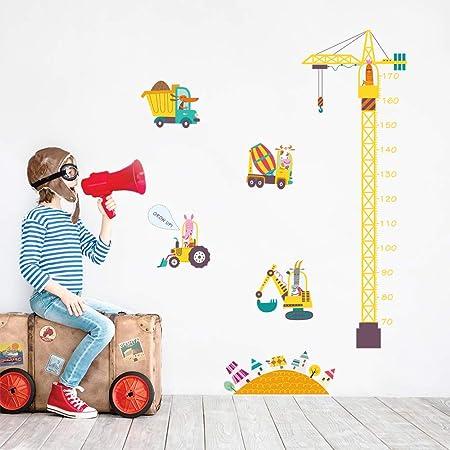decalmile Stickers Muraux Construction Grue Hauteur Croissance de Mesure  Tableau Autocollants Mural Animaux et Voiture Décoration Murale Chambre  Bébé ...
