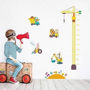 decalmile Stickers Muraux Construction Grue Hauteur Croissance de Mesure  Tableau Autocollants Mural Animaux et Voiture Décoration Murale Chambre ...