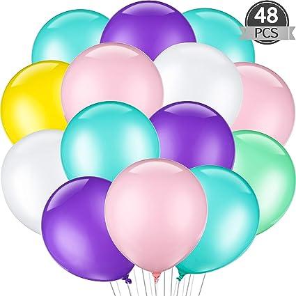 24 pc Aqua Pink Purple Latex Party Balloons Birthday Baby Girl Unicorn Mermaid 7