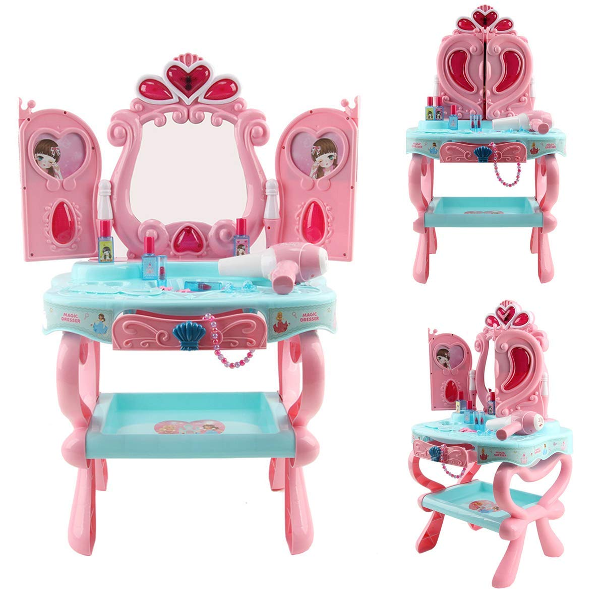 Toy Vanity Table, lesgos Makeup Dressing Table Toy Playset, Pretend Play Makeup Kit with Comb, Hair Bands, Hair Dryer,Toy Vanity, Gift for 1-4 Years Old Girls- Ship from US!! Pink