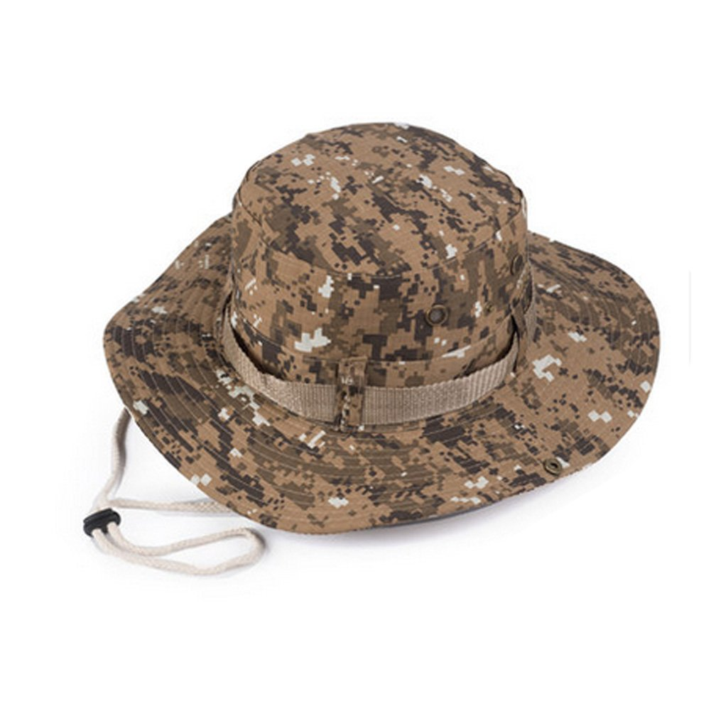 82248a23b84 Amazon.com   Men s Camo Sun Hat Outdoor Sports Cap Fishing Sun Protection  Bucket Cap-B   Sports   Outdoors
