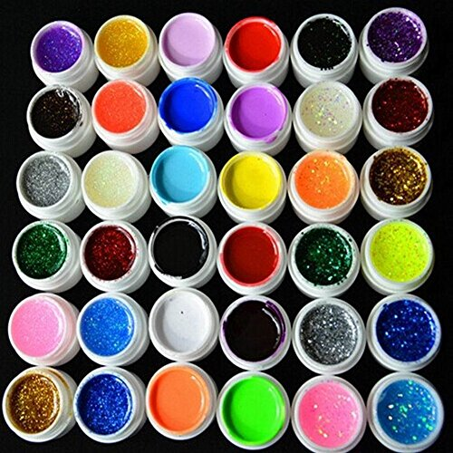 Glitter Uv Builder Gel - Warm Girl 36 Color Mixed UV Pure Hexagon Glitter Gel Nail Art Kits