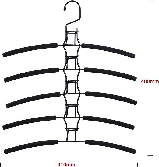 Perchas Met/álicas para Adultos DEBEME Perchas Est/ándar 5 En 1 Perchas Multicapa con Esponja Antideslizante Eva Negro