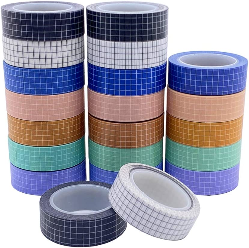 14 Rolls Grid Washi Tape Set 33ft Colorful Writable Paper Adhesive Masking Tapes 3//5in Width Sticky Paper Tape for DIY Scrapbooking Crafts Decor Labels Arts Book Designs 14 Rolls 2 Set 7 Colors