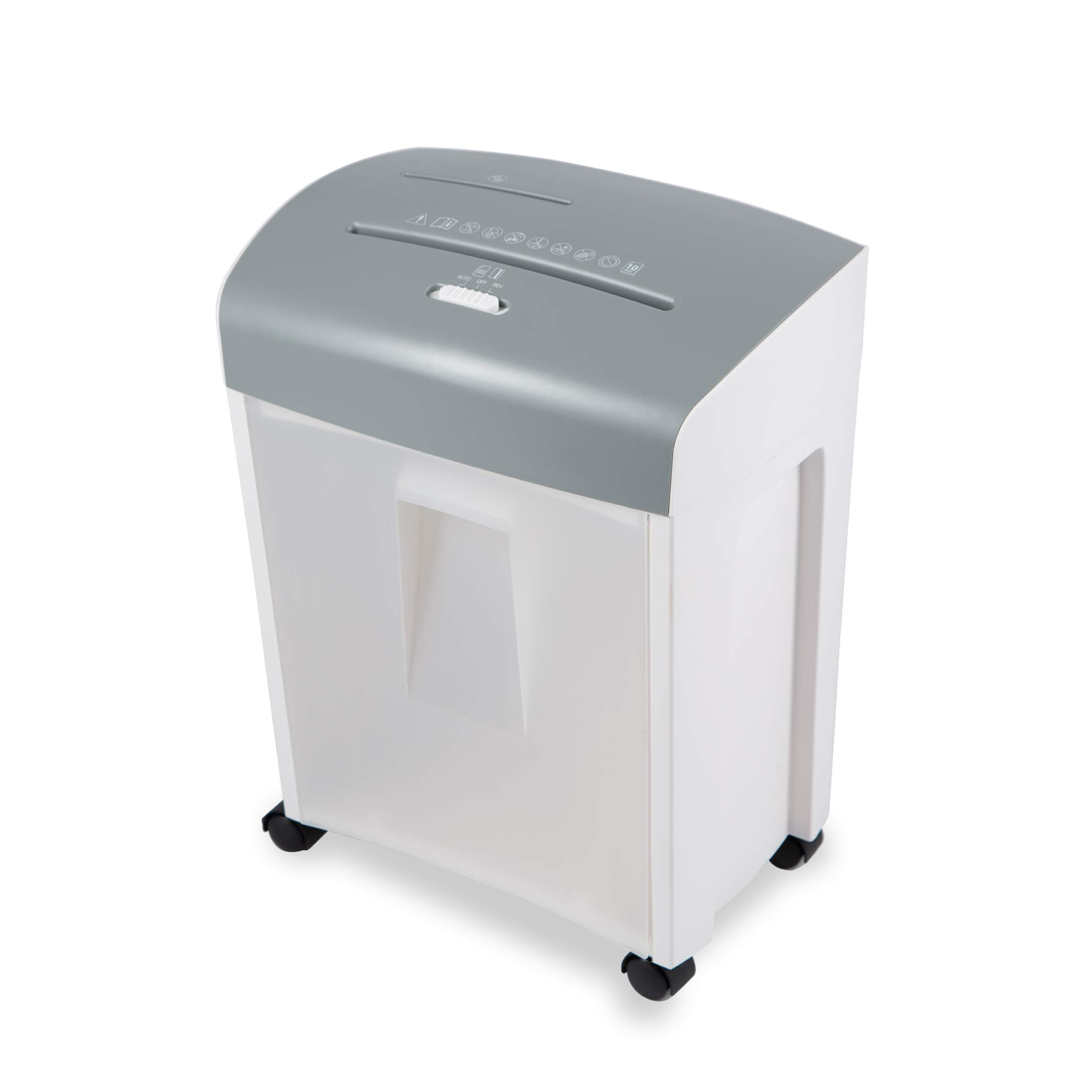 Zoomyo ZS-10E Document Shredder with pullout Basket, Security Class P4, Paper Shredder for up to 10 Sheets of DIN A4 Paper at Once, Also for CDs, DVDs and Credit Cards, Home Office Shredder, White by zoomyo