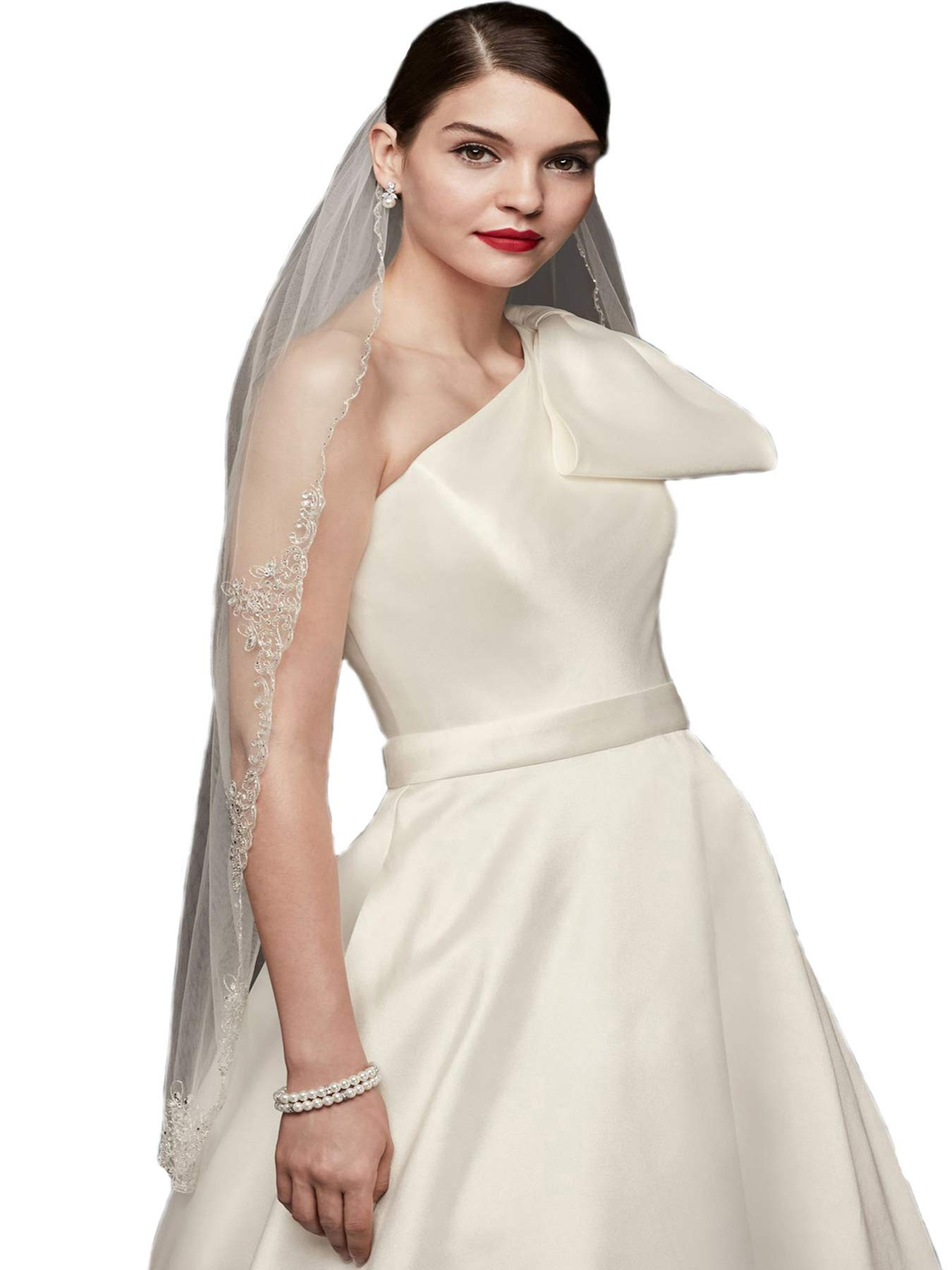 Passat Ivory 1T Ballet/Tea 1T Metallic Embroidered scalloped crystal veil bridal veil rhinestones DB121 by Passat