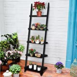 Universalwant 70 Inch 5 Tier Wood Leaning Ladder Shelf Bookcase Bookshelf Storage Shelves Unit (Black)