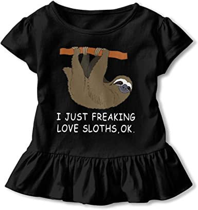 Ok 2-6 Years Old Kids Short Sleeve Tee Shirts I Just Freaking Love Sloths