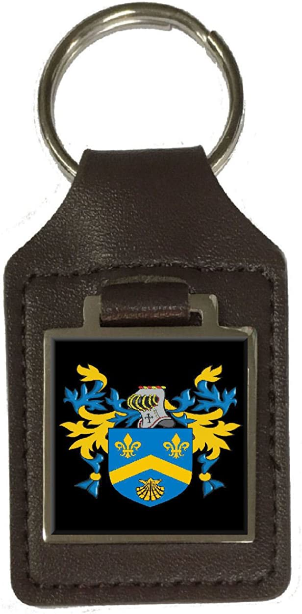 Warren Heraldry Surname Coat Of Arms Brown Leather Keyring Engraved