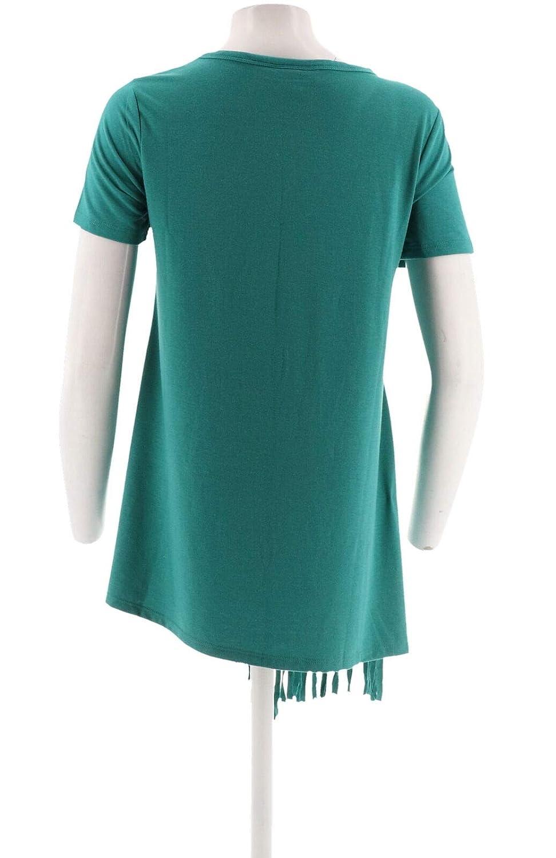 Serena Williams Asymmetric Fringe Statement Top Jersey Knit Teal XS New 541-225
