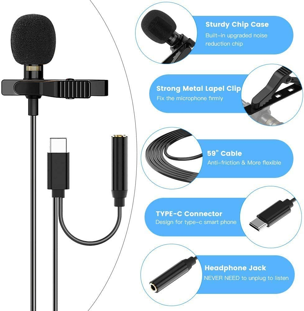 USB-C Lavalier Lapel Microphone for Android Smartphone with Earphone Jack Mini Omnidirectional Condenser Mic for Video Recording//Interview//Podcast//Streaming Lav Mics for Phone PC Computer Laptop