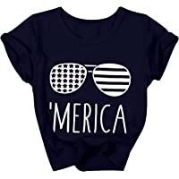 July 4th Newborn Boys and Girls American Flag T-Shirt Patriotic Clothing Casual Round Neck Short Sleeve Top