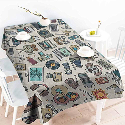 - familytaste Doodle,Vintage tablecloths Complation of Various Office Gadgets Recorder Tv Laptop Monitor Tablet Switch Mouse 70