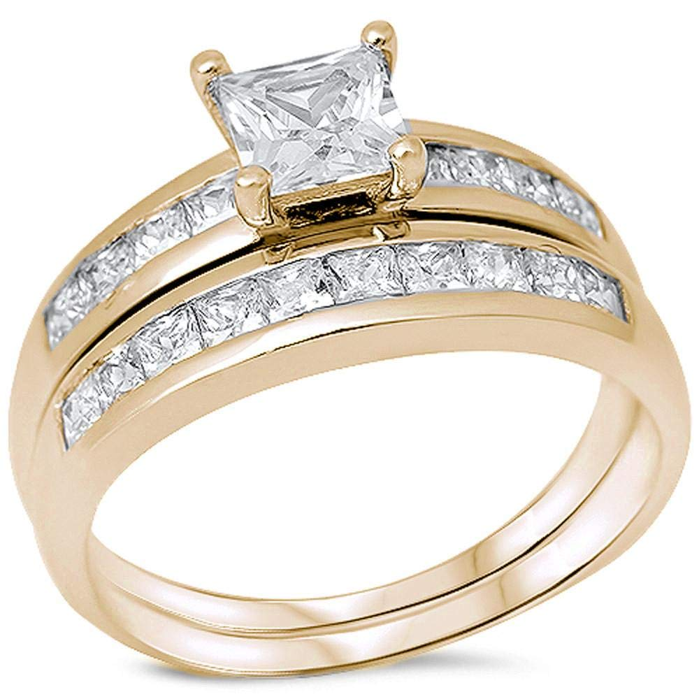 Princess Kylie Square Center Clear Cubic Zirconia Two Piece Ring Gold-Tone Plated Sterling Silver Size 10