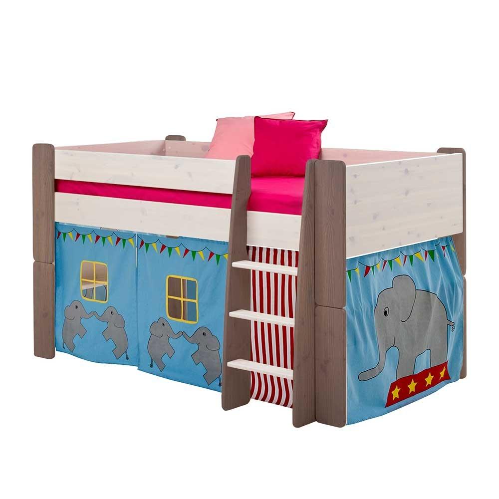 Pharao24 Kinderhochbett mit Vorhang Elefant Design